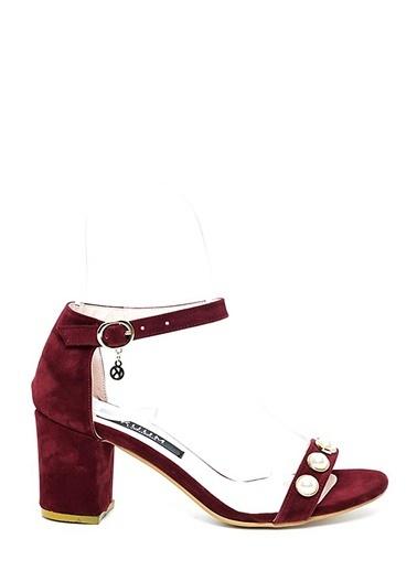 Kuum Kalın Topuklu Ayakkabı Bordo